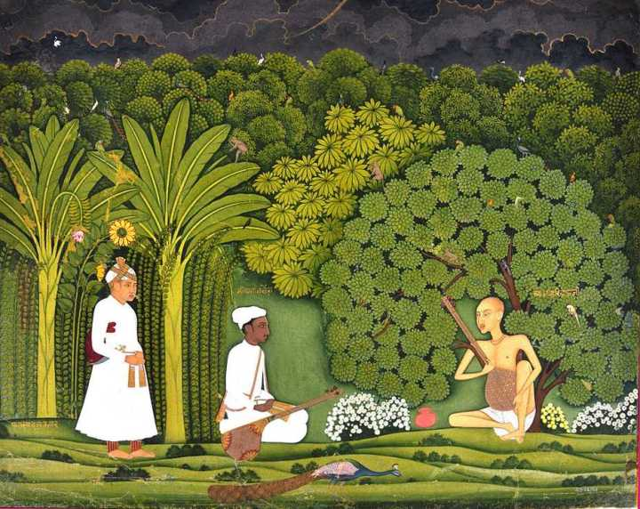 Swami Haridas and Tansen with Akbar listening
