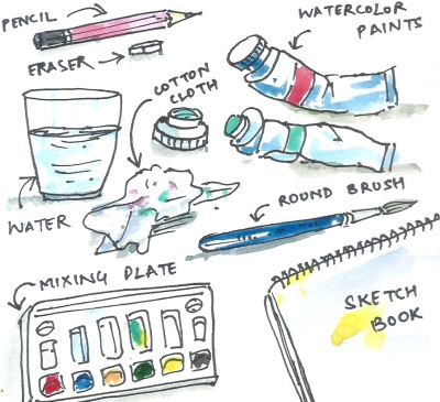 Materials used in water coloring