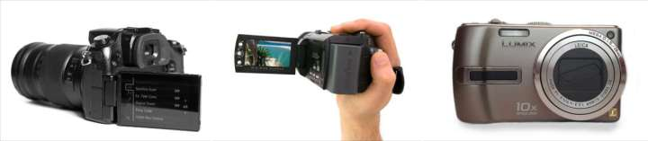 dslr, camcorder and point-and-shoot camera