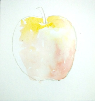 Step 2 - apple water coloring, light shades applied