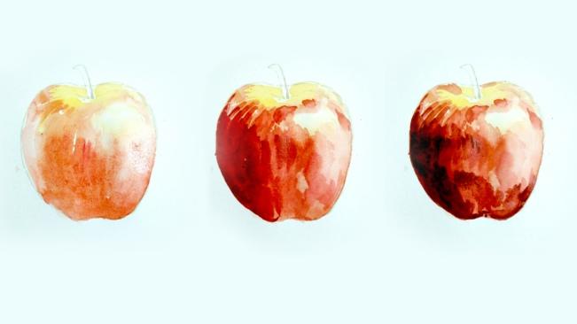 Step 3 - apple water coloring, progressively applying darker shades