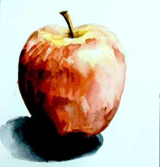 Step 4 - apple water coloring, adding shadow