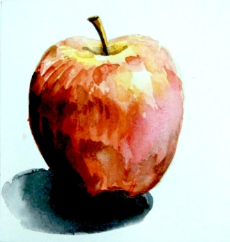 Step 5 - apple water coloring, giving final touches