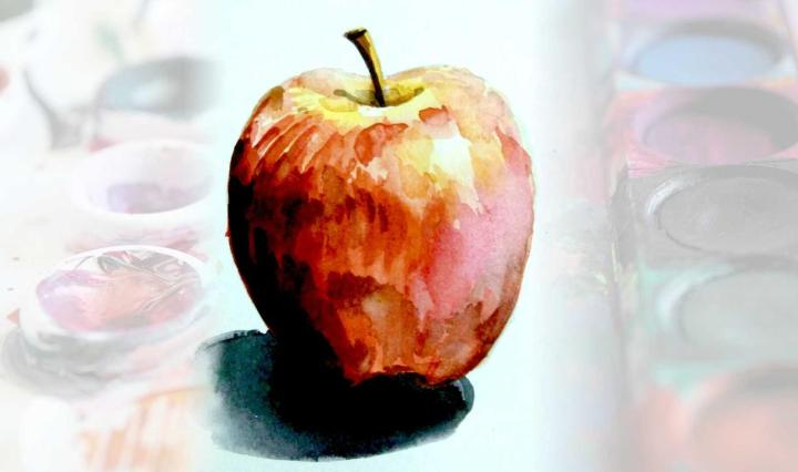 water color painting steps using apple as example