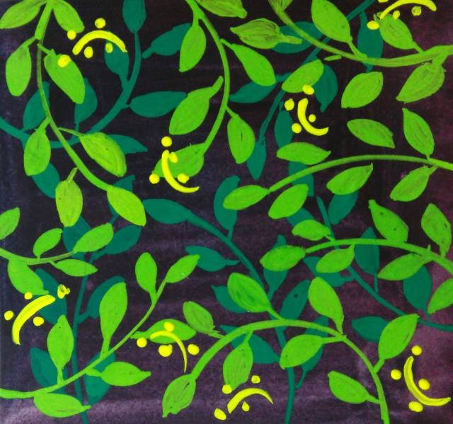 Green leaves with yellow highlight in gouache