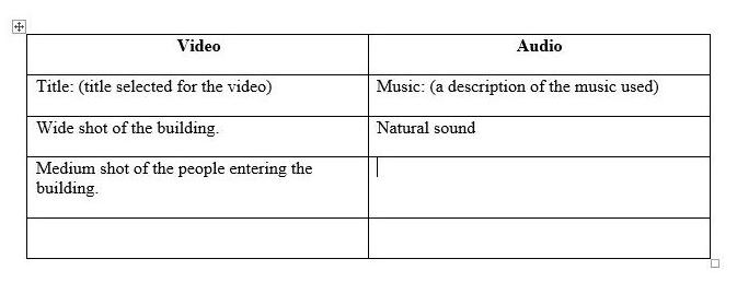Pre-production description of video and audio