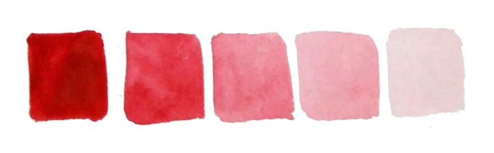 red shades in gouache