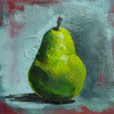 Step 4 – Giving final touch to the pear painting done with acrylic