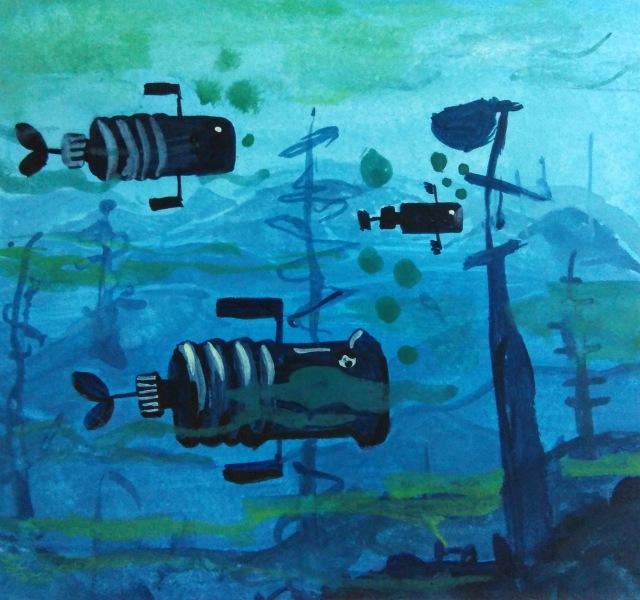Underwater scene in Gouache painting