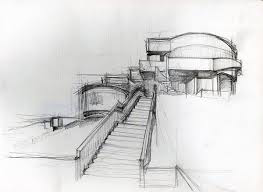 Sketch of temple with stair